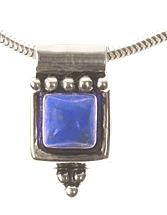 Small Sterling Silver and Lapis Lazuli Arabesque pendant with Chain