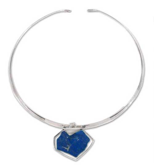 """Sterling Silver and Lapis Lazuli """"Rock"""" Slider Necklace"""