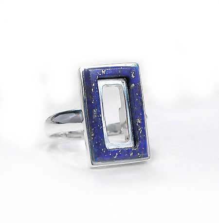 Sterling Silver and Lapis Lazuli Frame Ring