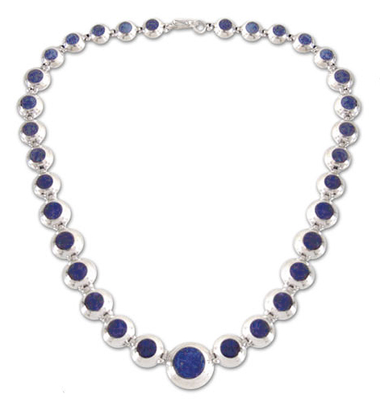 Sterling Silver and Lapis Lazuli Hinged Modules Necklace