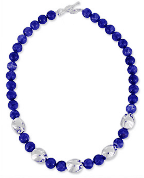 Lapis Lazuli and Sterling Silver Beads Necklace