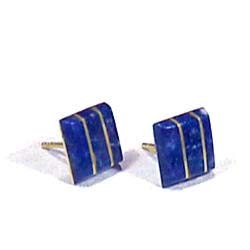 18K Gold Squared Division Post Earrings