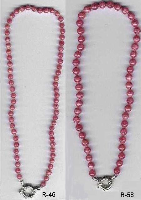 6 mm and 8 mm Rhodocrosite Bead Necklace