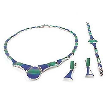 Big Stone Lapis & Malachite Sterling Silver Set