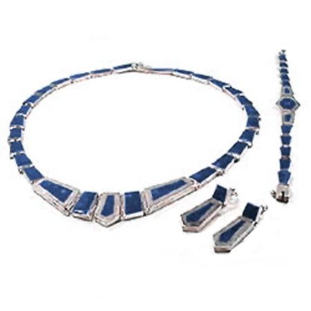 Big Stone Lapis Lazuli & Malachite Sterling Silver Set