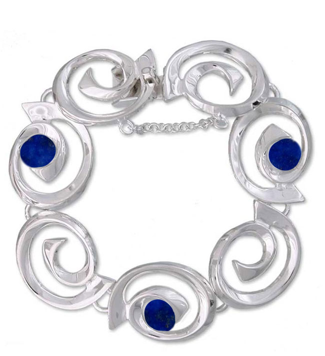 Spirals of Time Sterling Silver and Lapis Lazuli Bracelet