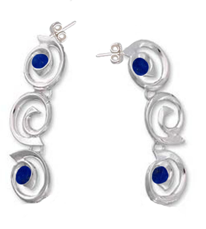 Spirals of Time Sterling Silver and Lapis Lazuli Hanging Earrings
