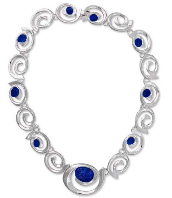 Spirals of Time Sterling Silver and Lapis Lazuli Necklace