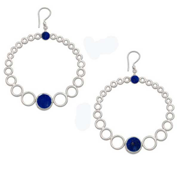 Sterling Silver and Lapis Lazuli Bubble Hoops