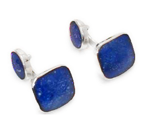 Square Stone Sterling Silver Cuff Links