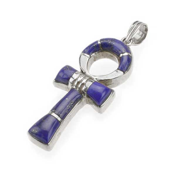 Sterling Silver and Lapis Lazuli Ankh Cross