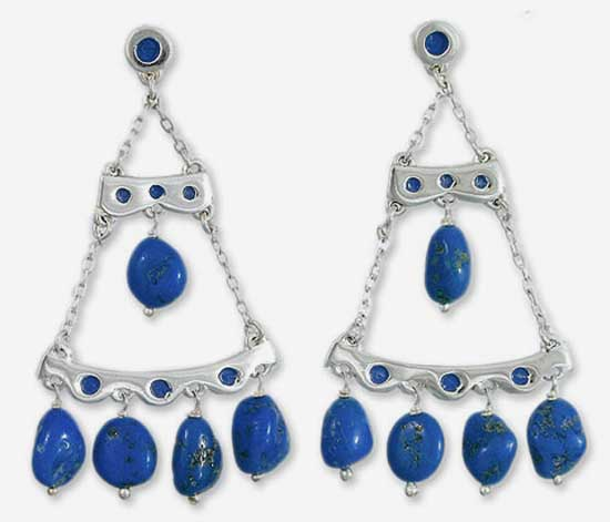 Sterling Silver and Lapis Lazuli Enchanted Drops Chandelier Hanging Earrings