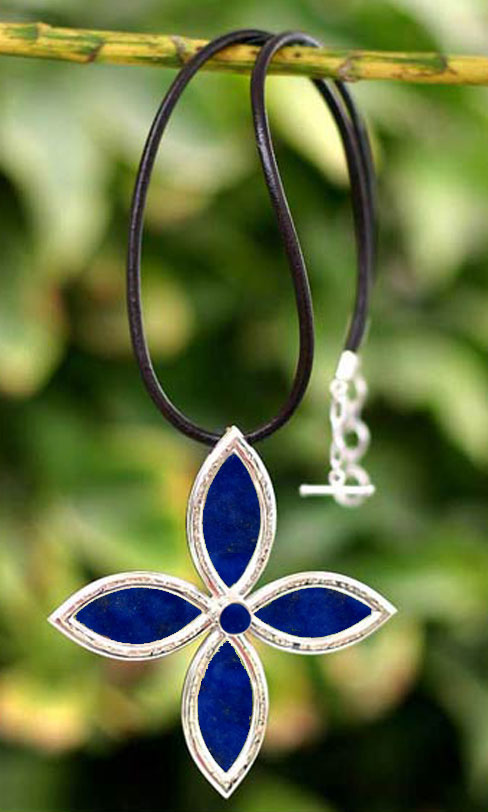Sterling Silver and Lapis Lazuli Flower Child Necklace and Earrings Set