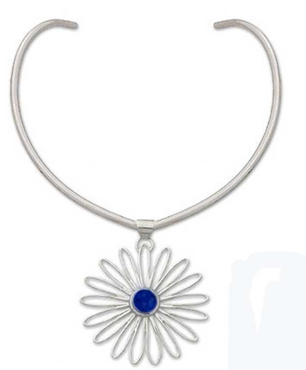 Sterling Silver and Lapis Lazuli Loves Me, Loves Me Not Necklace