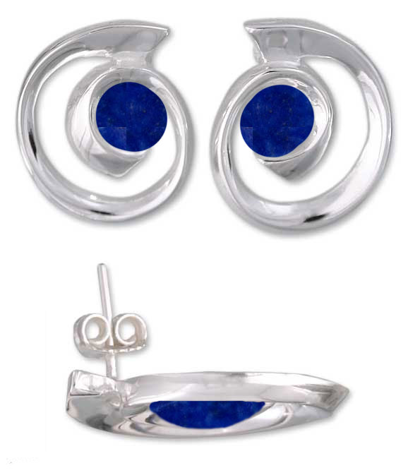 Spirals of Time Sterling Silver and Lapis Lazuli Post Earrings