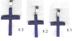 Rectangular Sterling Silver and Lapis Lazuli Cross