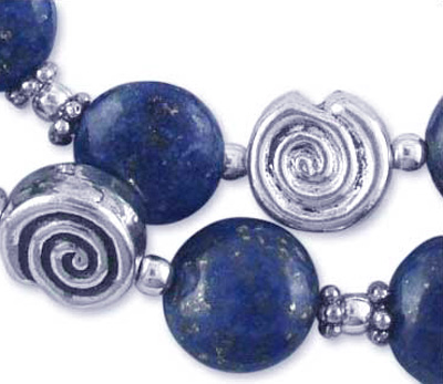 Lapis Lazuli and Sterling Silver Swirl Bead Necklace