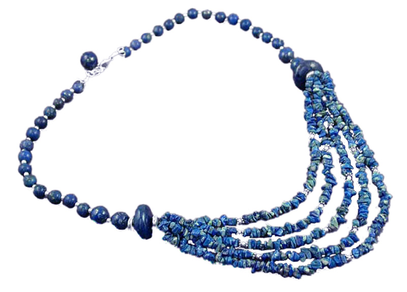 Sterling Silver and Lapis Lazuli Beaded Cascade Necklace