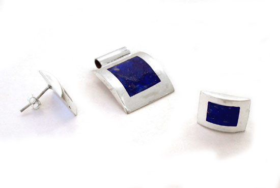 Sterling Silver and Lapis Lazuli Pendant and Earrings Set