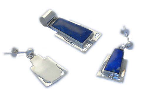 Sterling Silver and Lapis Lazuli Square Pendant and Earrings Set