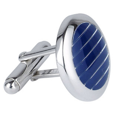 Sterling Silver and Lapis Lazuli Striped Cuff links