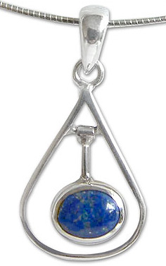 Sterling Silver and Lapis Lazuli Pendulum Necklace