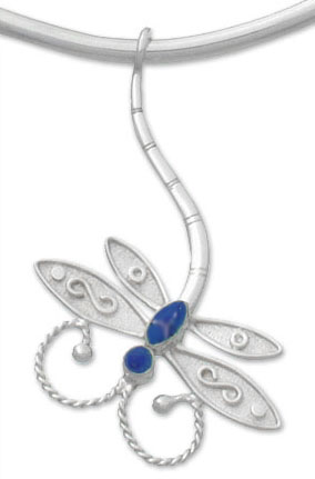 Sterling Silver and Lapis Lazuli Dragon Fly pendant and Slider