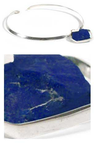 "Sterling Silver and Lapis Lazuli ""Rock"" Slider Necklace"