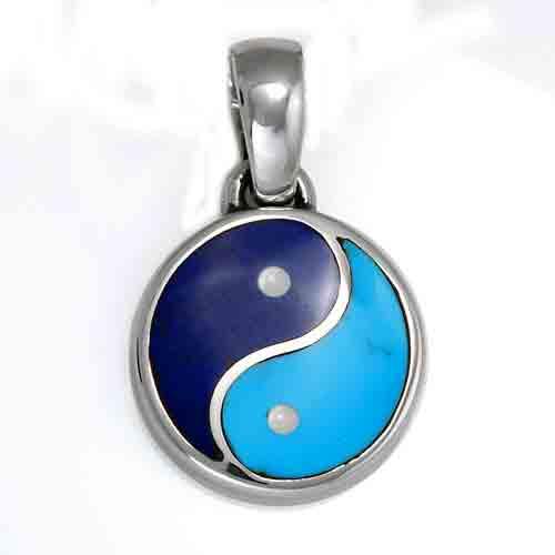 Lapis Lazuli and Turquoise Yin Yang Charm