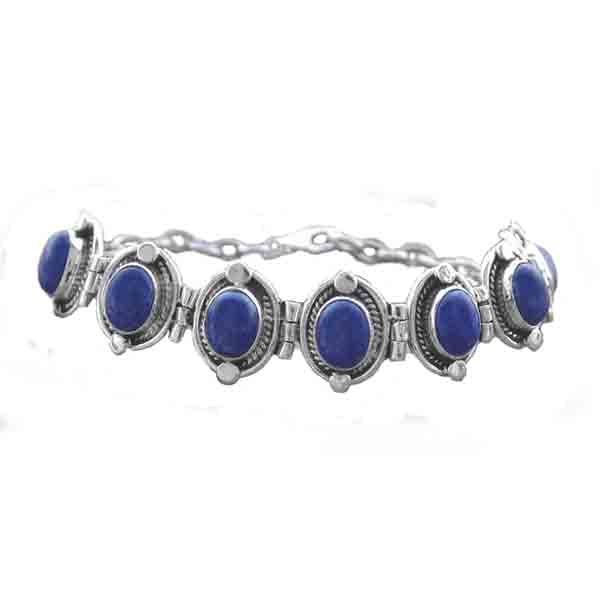 Sterling Silver and Lapis Lazuli Medallion Cabochon Bracelet