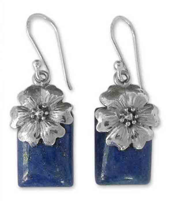 Sterling Silver and Lapis Lazuli Zinnia Hanging Earrings