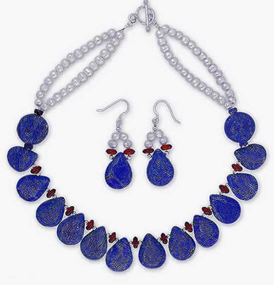 Lapis Lazuli, Waterpearls and Amber Necklace and Earrings Set