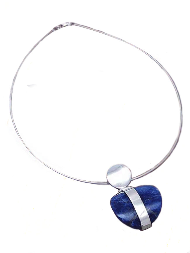 Sterling Silver and Lapis Lazuli Heart Boulder Necklace