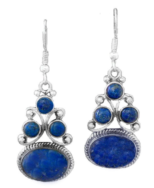 Lapis Lazuli and Sterling Silver Lumiere Hanging Earrings