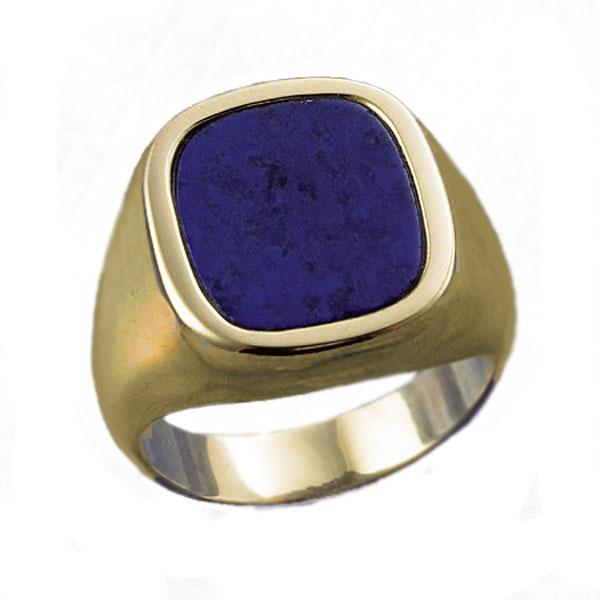 14K Gold and Lapis Lazuli Square Signet Ring