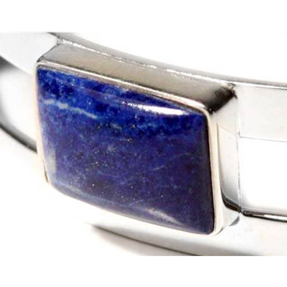Sterling Silver and Lapis Lazuli Three Wishes Cuff Bracelet