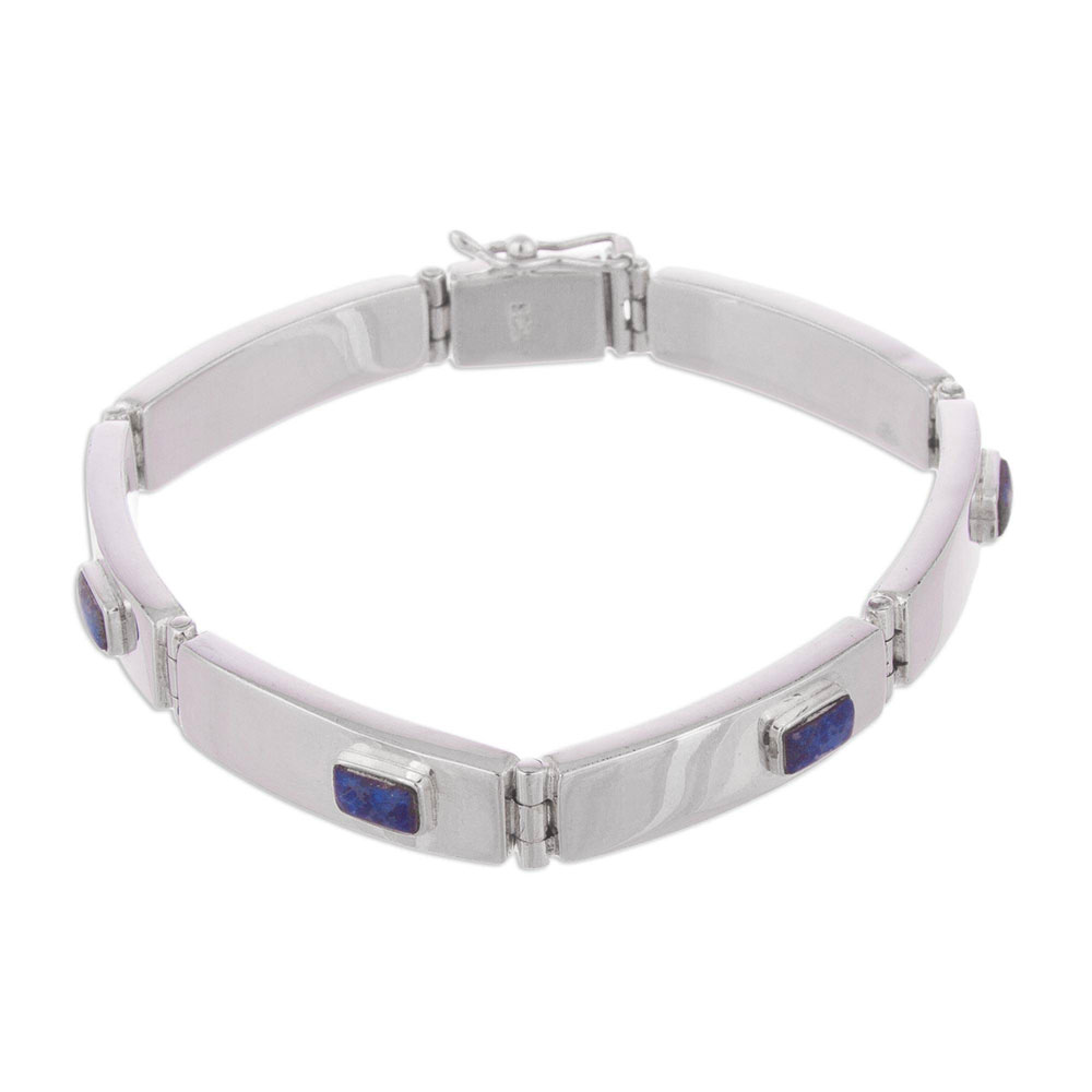 Stelring Silver and Lapis Lazuli Sky Windows Hinge Bracelet