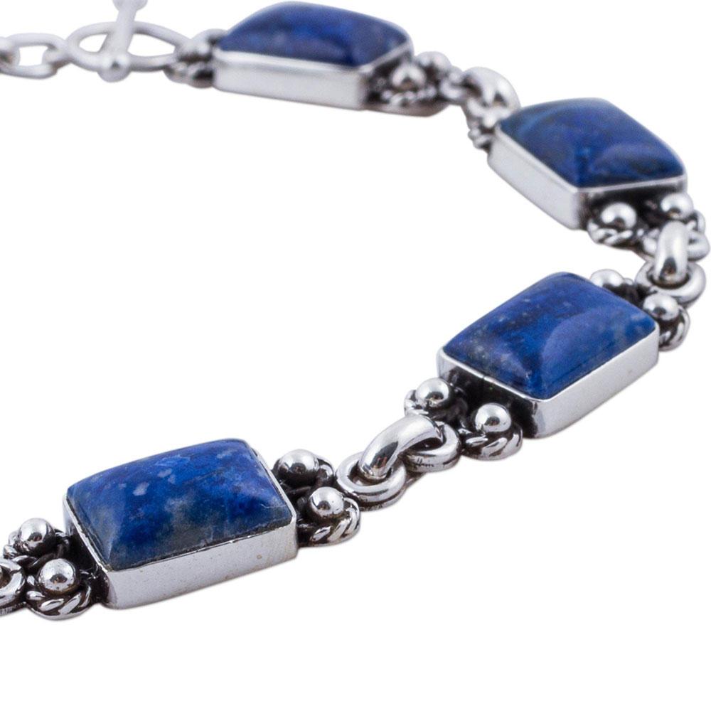 Sterling Silver and Lapis Lazuli Seven Seas Toggle Bracelet