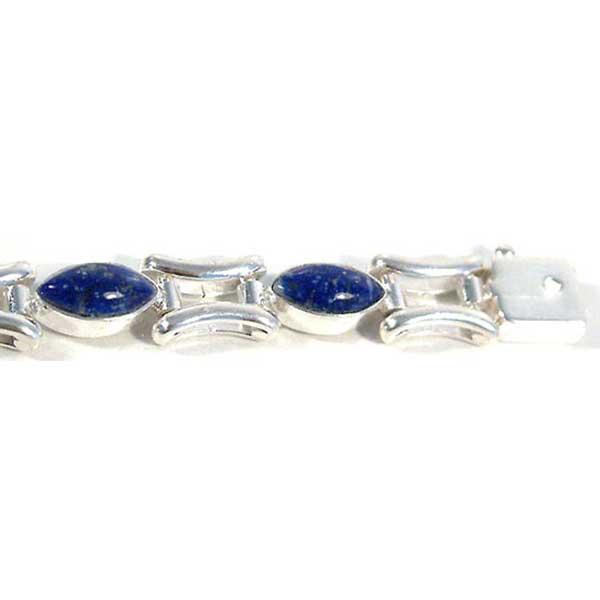 Sterling Silver and Lapis Lazuli Special Design Cabochon Bracelet
