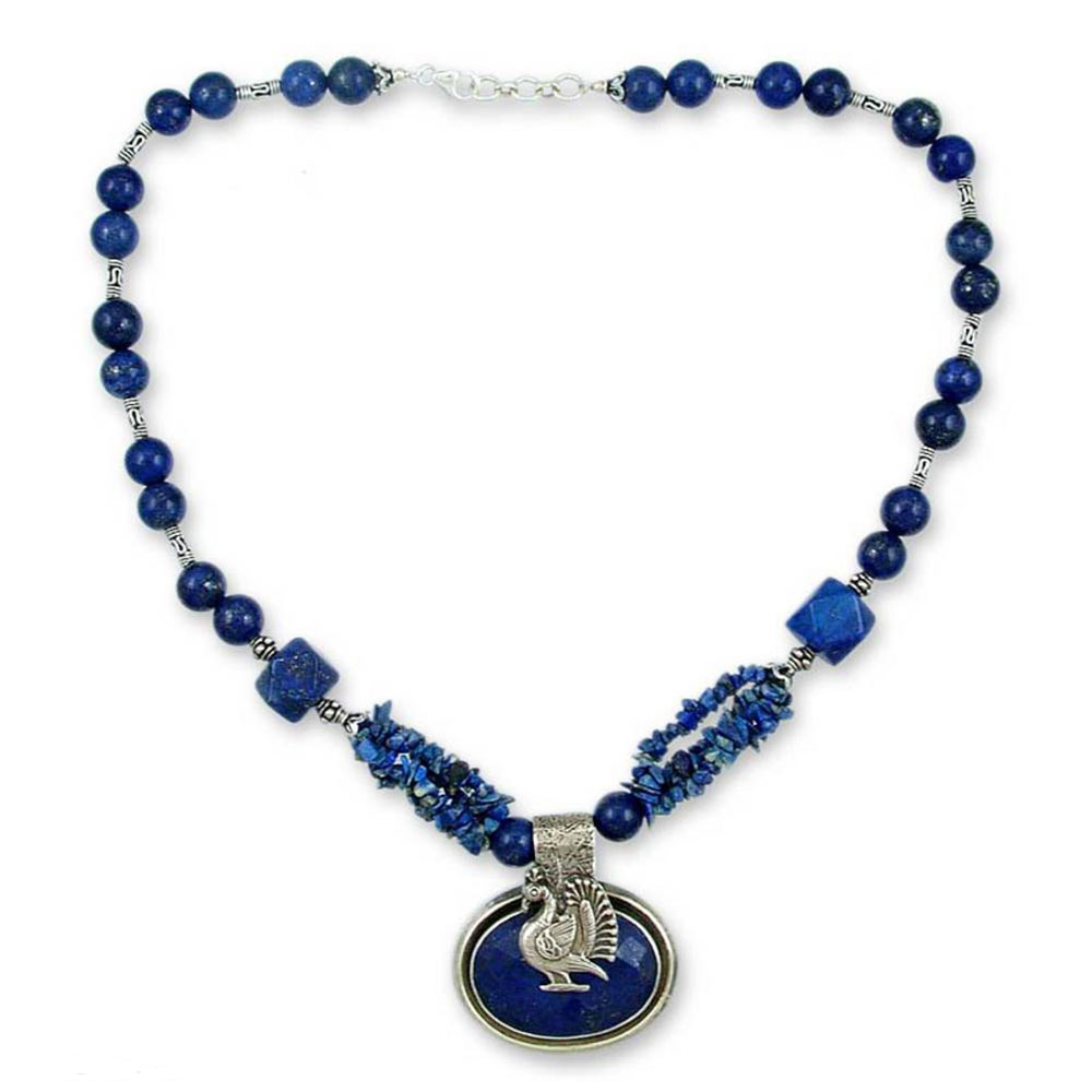 Sterling Silver and Lapis Lazuli Sacred Peacock Medallion Necklace