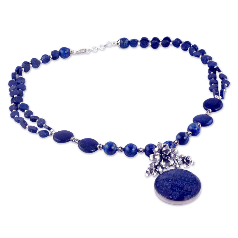 Sterling Silver and Extra Blue Lapis Lazuli Midnight Lillies Beaded Necklace