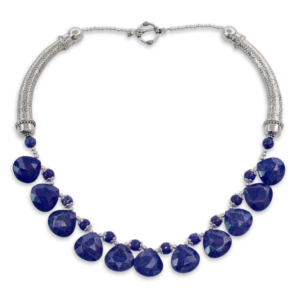 Sterling Silver and Lapis Lazuli Blue Enigma Necklace