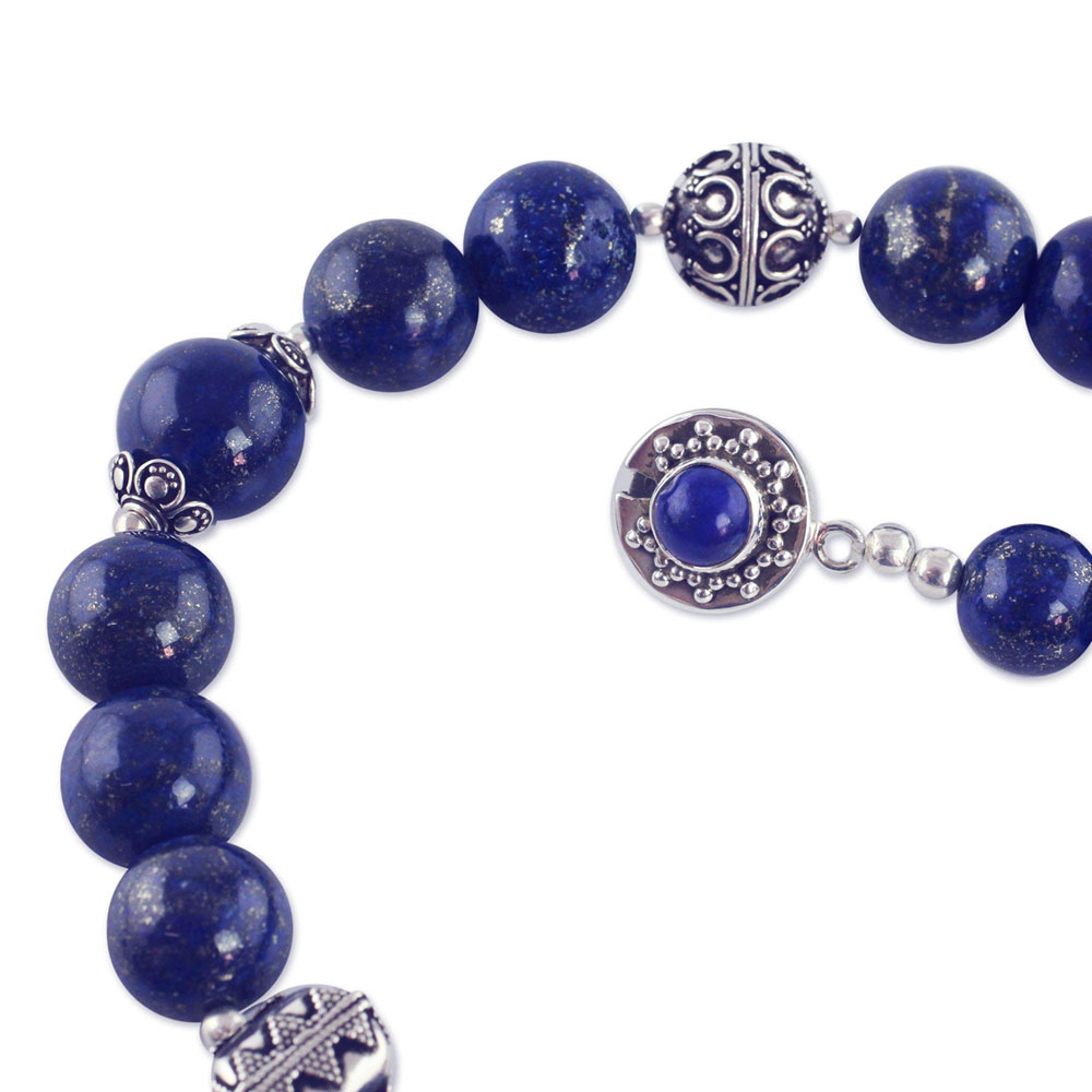 Sterling Silver and Lapis Lazuli Elegance Bead Necklace