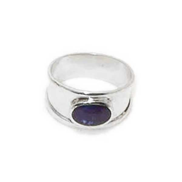 Thick Band Oval Stone Sterling Silver Ring