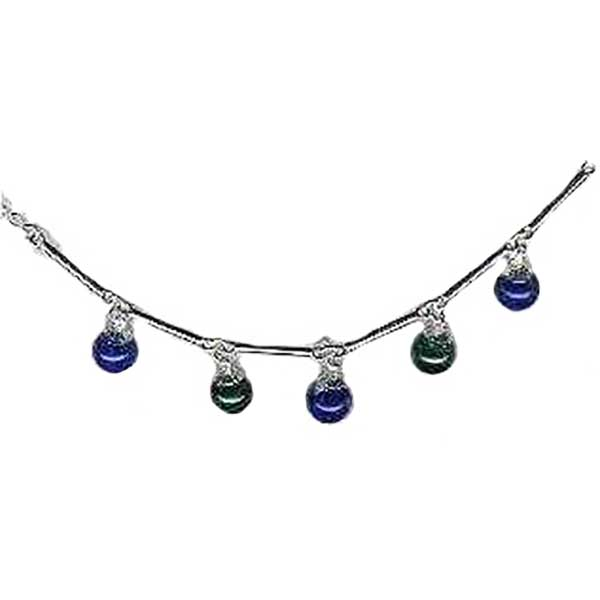 Sterling Silver Chain with Hanging Stone Beads