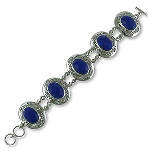 Sterling Silver and Lapis Lazuli Lace Medallion Cabochon Bracelet