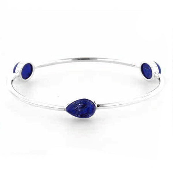 Sterling Silver and Lapis Lazuli Channeling Cuff Bracelet