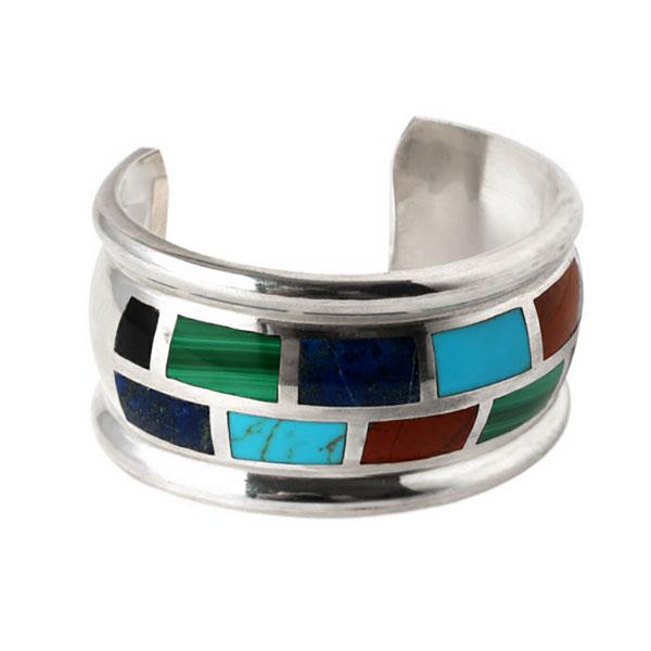 Lapis Lazuli, Turquoise, Malachite and Jasper Cuff Bracelet