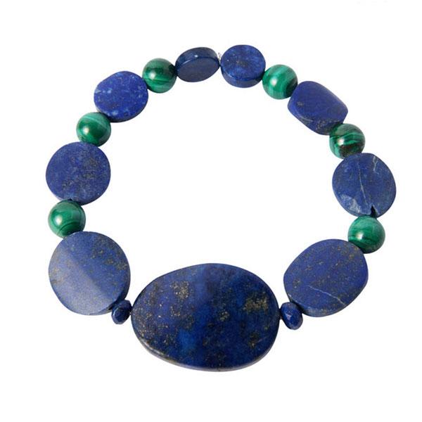 Lapis Lazuli and Malachite Bead Bracelet