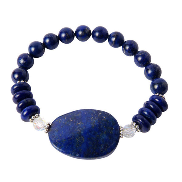 Lapis Lazuli, Sterling Silver and Swarovski Crystals Bead Bracelet
